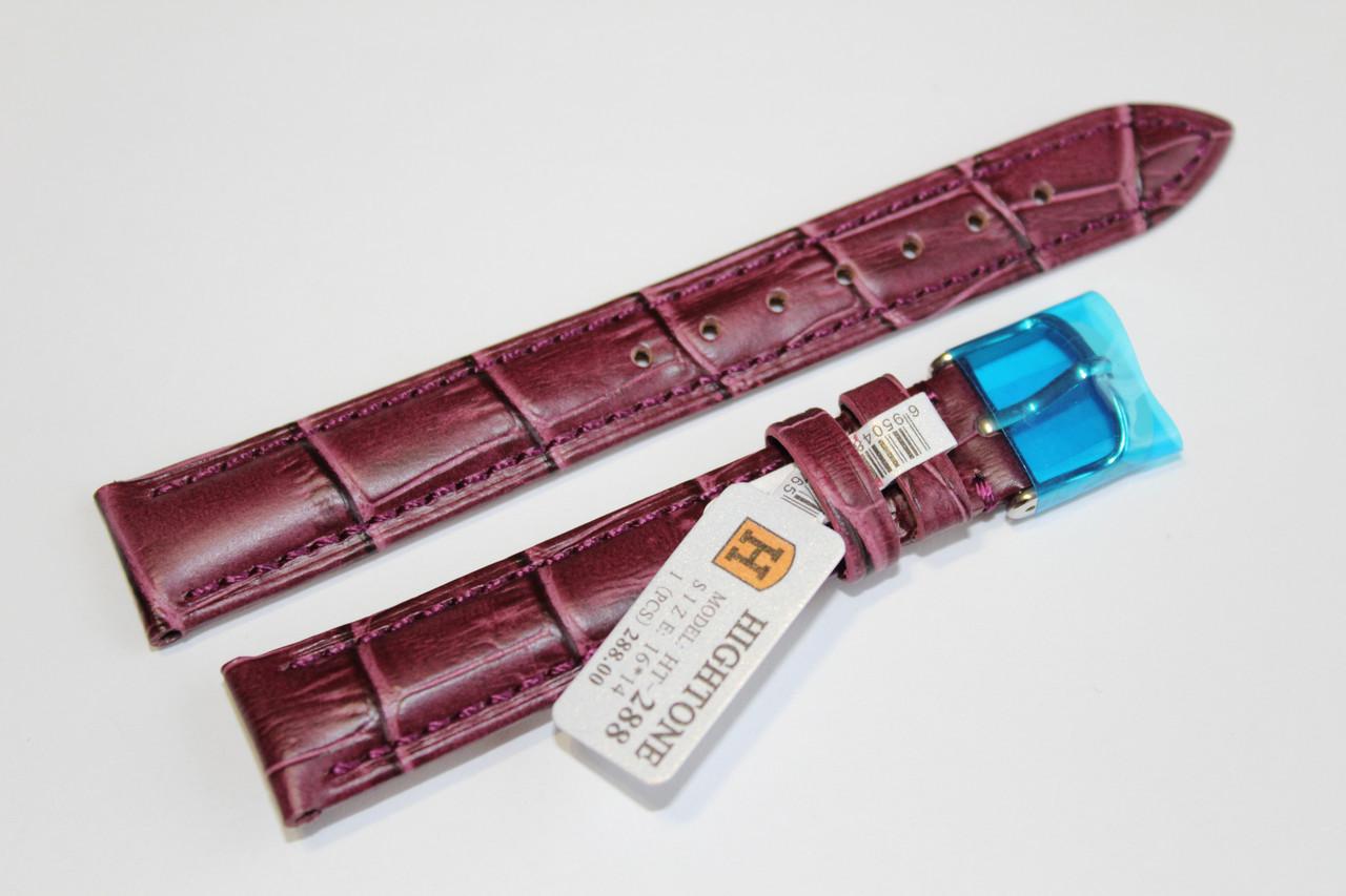 Кожаный ремень для  наручных часов HIGHTONE- сиреневый ремень выделкой под крокодил 16 мм