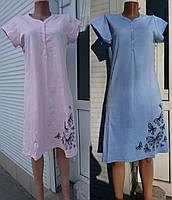 Ночная рубашка для беременных и кормящих с коротким рукавом шелкография бабочки  44-58 р