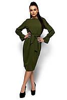 """Платье из фактурного эластичного трикотажа кроя бочонок с поясом Венера хаки """"KR"""""""