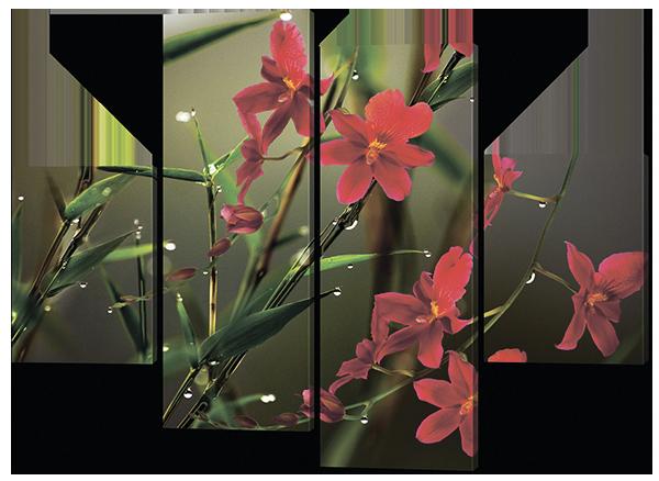 Сегментная модульная картина Цветы