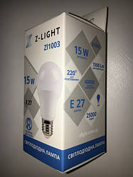 Светодиодная лампа Z- LIGHT ZL1003 15W А60 E27 4000K Код.58779