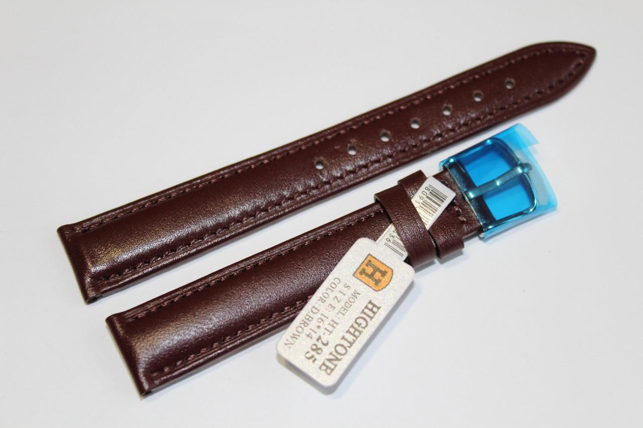 Кожаный ремень для  наручных часов HIGHTONE-темно-коричневый гладкий 16 мм
