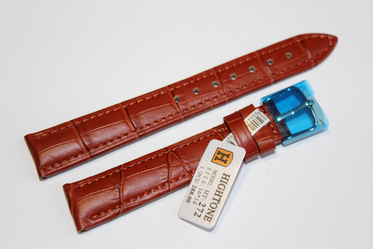 Кожаный ремень для  наручных часов HIGHTONE-светло-коричневый выделкой под крокодил 16 мм.