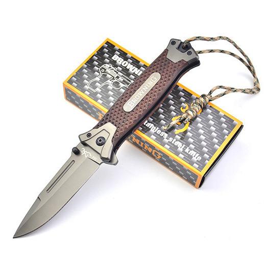 Нож Browning, полуавтомат, темляк и подарочная упаковка, качественная выкидуха