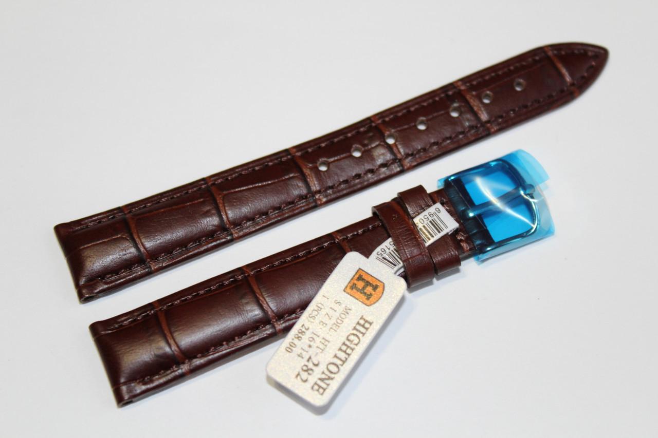 Кожаный ремень для  наручных часов HIGHTONE-коричневый ремень,выделкой под крокодил 16 мм