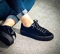 3bc288cf55f5 Женские кроссовки реплика Puma x Rihanna Fenty Suede Creeper Satin Black