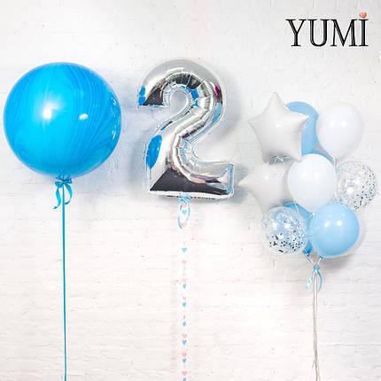 Композиция из шара синий агат, цифры 2 серебро с гирляндой и связки из 12 шаров, фото 2