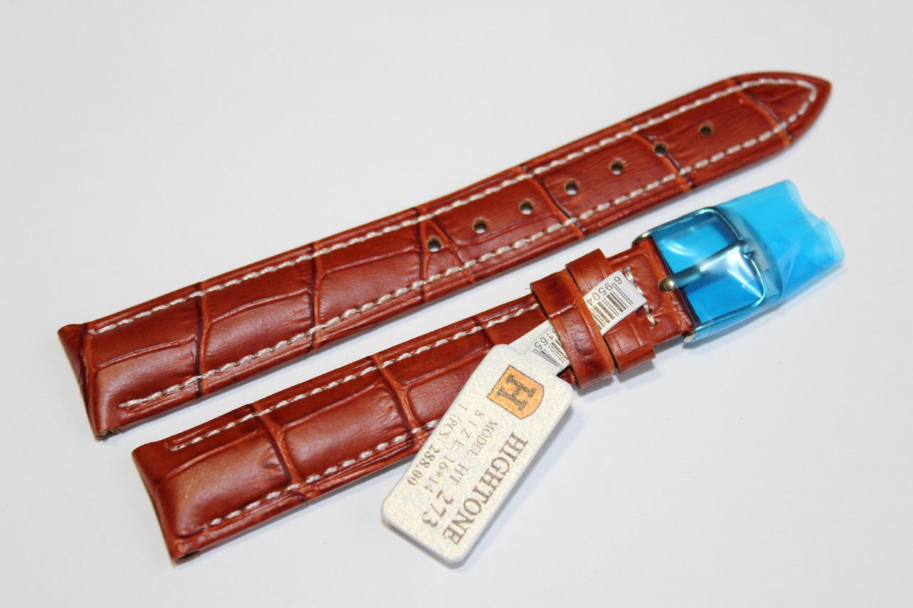 Кожаный ремень для  наручных часов HIGHTONE-светло-коричневый крокодил 16 мм с белой прошивкой.