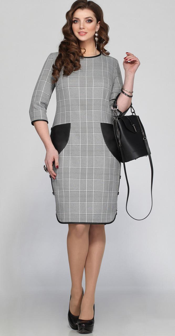 Платье Matini-31059/2 белорусский трикотаж, серый+клетка, 54