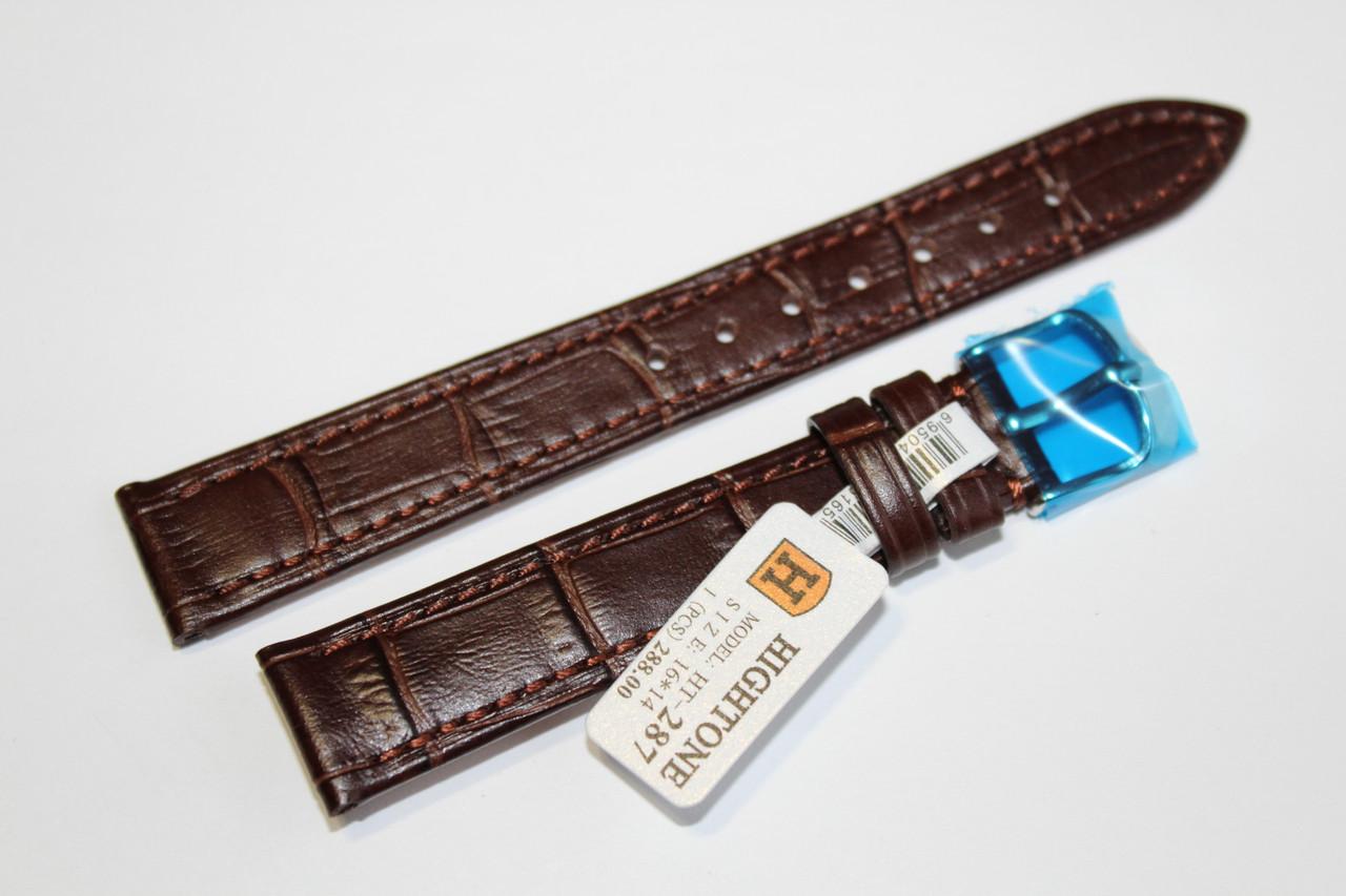 Кожаный ремень для  наручных часов HIGHTONE-коричневый ремень, выделкой под крокодил 16 мм.