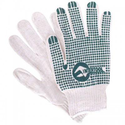 Перчатка хлопчатобумажная трикотажная с резиновым вкраплением с одной стороны (ПВХ зеленая)