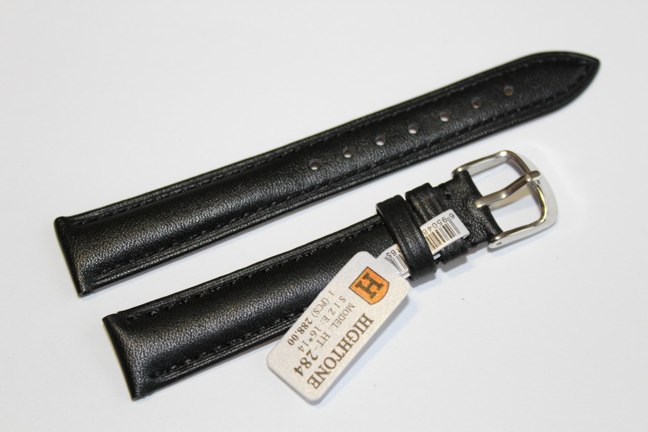 Кожаный ремень для  наручных часов HIGHTONE-черный гладкий 16 мм.