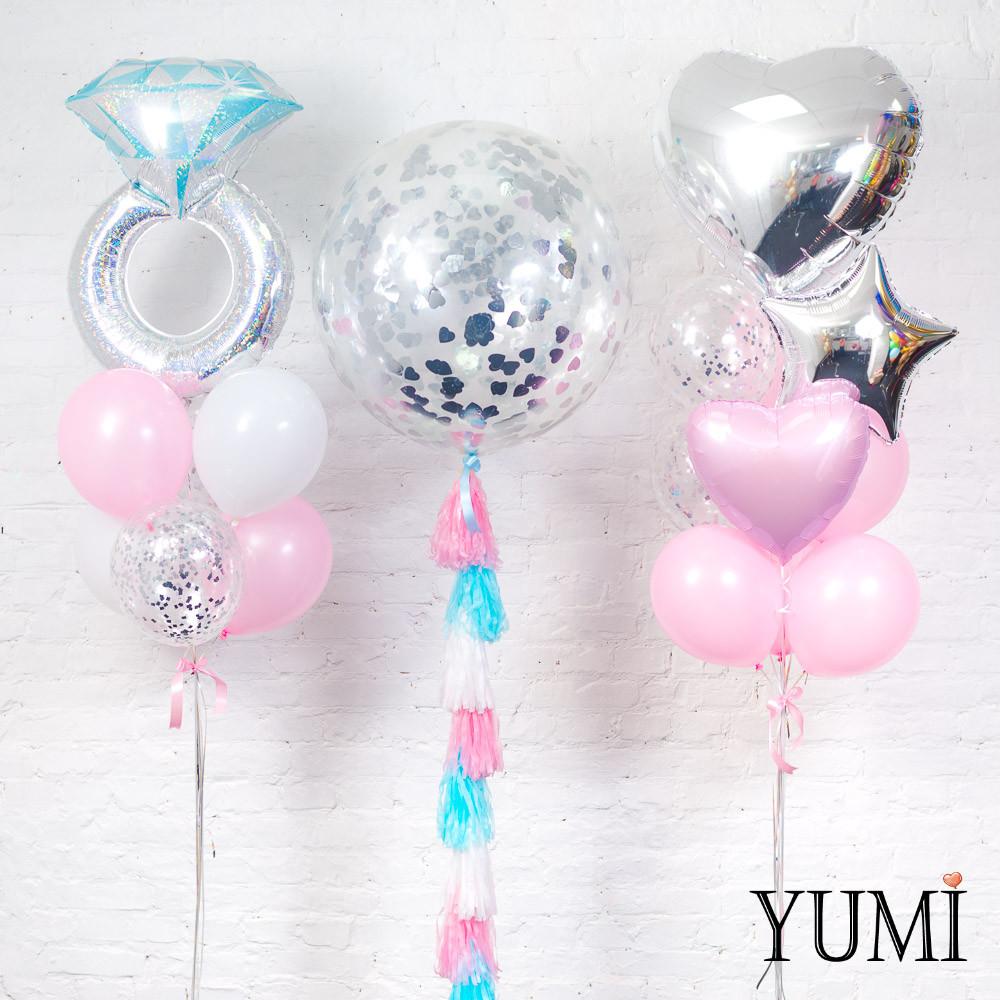 Декор из воздушных шаров с гелием на девичник