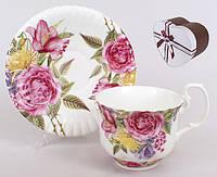 """Подарочный чайный набор """"Цветы"""" 2 чашки 225 мл +блюдца,"""