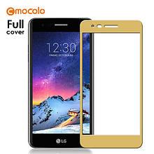 Защитное стекло Mocolo 2.5D 9H на весь экран для LG K10 2017 золотистый
