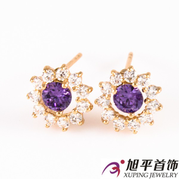 Серьги-гвоздики 1 см лимонная позолота фиолетовый (Медицинское золото)