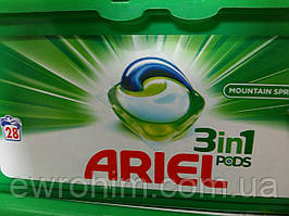 Капсулы для стирки Ariel 3в1 (для белого белья) 28 шт