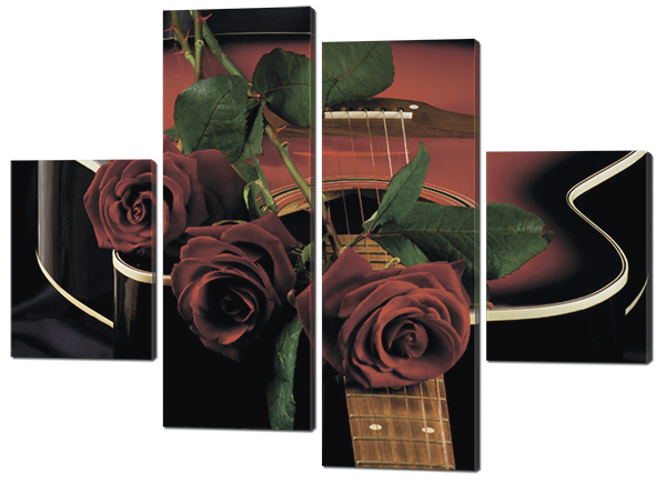 Понно из четырех частей (модульная) картина Розы и гитара