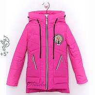 Детская модная куртка весна осень для девочки малиновая