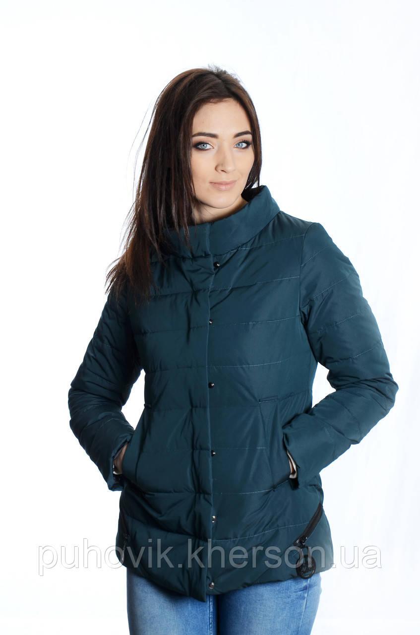 1ff1c1134132 Куртка женская деми Meajiateer M1836 изумруд -