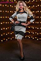 Красивое Силуэтное Платье из Люрексного Трикотажа Серо-Черный Меланж р.44-50