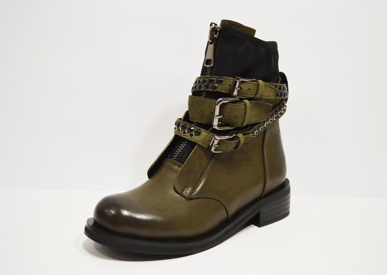 Ботинки с ремешками и заклепками хаки Fabio Monelli