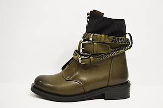 Ботинки с ремешками и заклепками хаки Fabio Monelli, фото 3