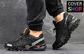 Кроссовки мужские Salomon Speedcross, материал - плотная сетка+кожа, черные