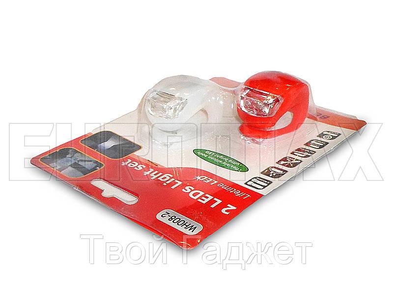 Фонарь велосипедный силиконовый красный/белый C20-008-2-RW