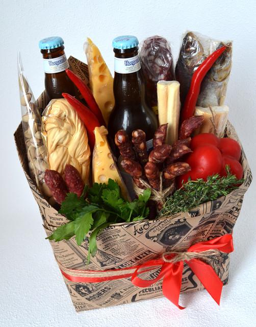 Букети з ковбаси, сиру, алкоголю, пива, риби