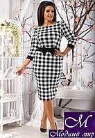 Молодежное платье в черно-белый квадратик (48, 50, 52, 54) арт. 11207
