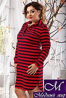 Молодежное платье в красно-синюю полоску (50, 52, 54, 56) арт. 10497