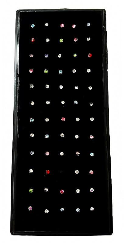 Серьги -гвоздики в нос. Камни: циркон разных цветов. Круглая форма. Диаметр: 1,5 мм. В упаковке 60 шт.