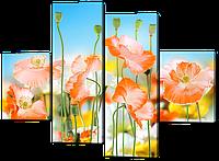 Модульная картина Цветы в стиле ню 126*93 см