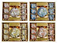 """Кофейный набор/сервиз из фарфора """"Цветы  в позолоте"""",12 предметов"""