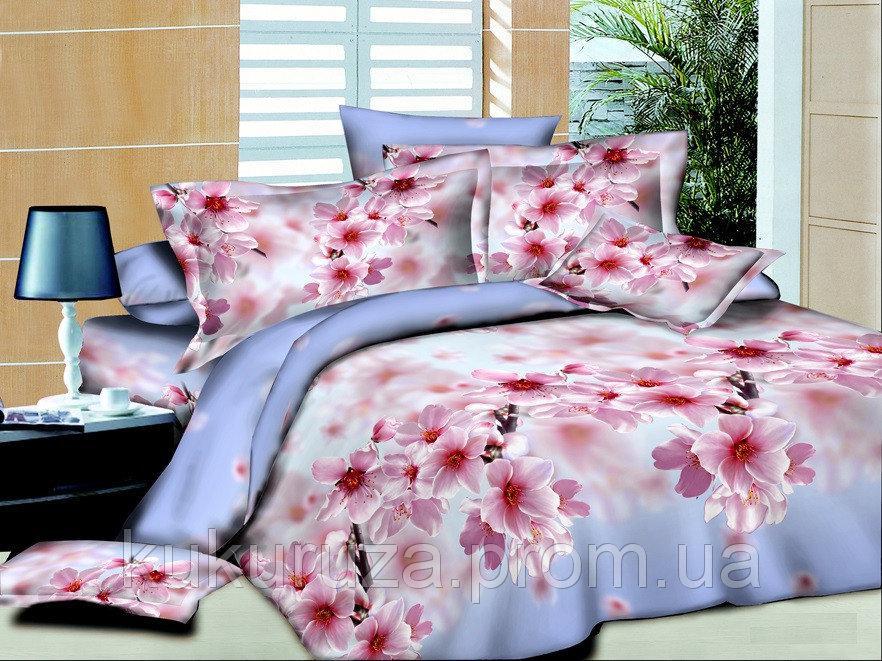 Полуторный комплект постельного белья 150х220 из полисатина Весенний Цветок 1