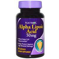Альфа липолиевая кислота, Natrol,   50 мг, 60 капсул