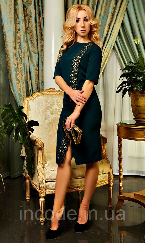 """Жіноче плаття """"Софія"""" темно-зеленого кольору"""