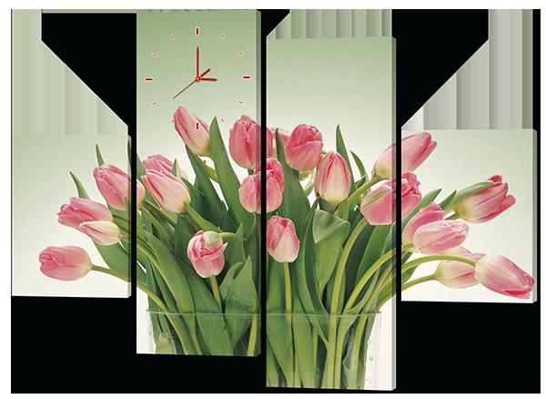 Модульная картина с часами  Букет из тюльпанов