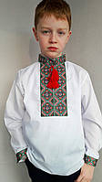 Вышиванка для мальчика с зеленой вышивкой , фото 1