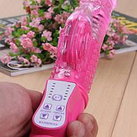 Вибратор игрушка для женщин  многофункциональный, стимулятор G и клитора, вращение, ротация.Розовый.