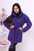 Короткое женское  стильное шерстяное пальто на запах с двумя накладными карманами