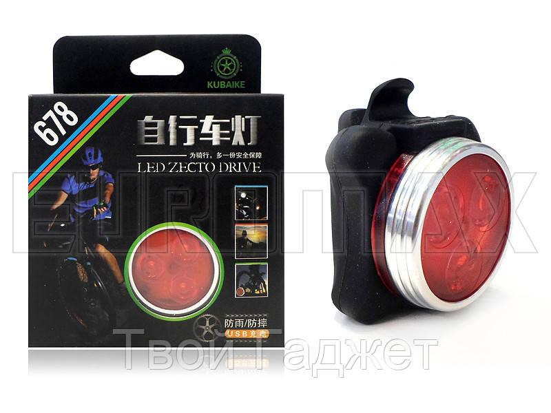 Фонарь велосипедный USB красный C03-678-R