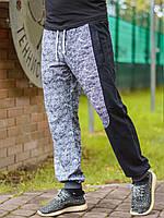 Мужские спортивные штаны на резинке с карманами серые с черной вставкой