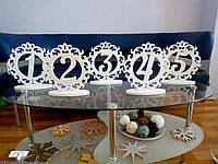 Номерки, номерки на столы, свадебные номерки, таблички для гостей на стол