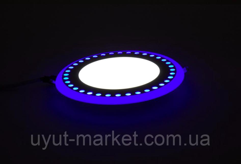 """LED панель Lemanso """"Точечки"""" LM542 круг  6+3W синяя подсв. 540Lm 4500K 85-265V, фото 1"""