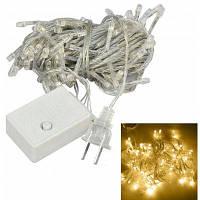 Jiawen 10M Рождественская светодиодная мигающая лента с гирляндами на 100 Rgb светодиодов Us 110V / Eu 220V Тёпло-белый свет