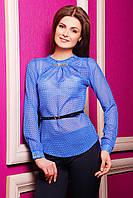 Легкая женская шифоновая блузка в горох с пояском, длинный рукав электрик Энни д/р