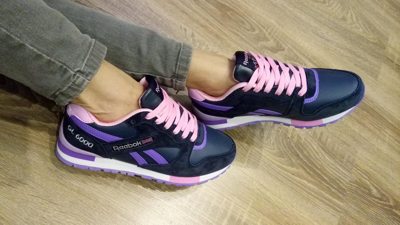 Женские кроссовки в стиле Рибок синий фиолет