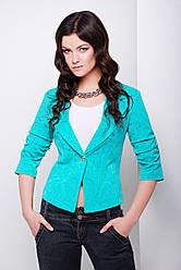 Короткий женский пиджак на одну пуговицу, рукав 3/4 бирюзовый Жако2